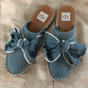 denim bow espadrille mules
